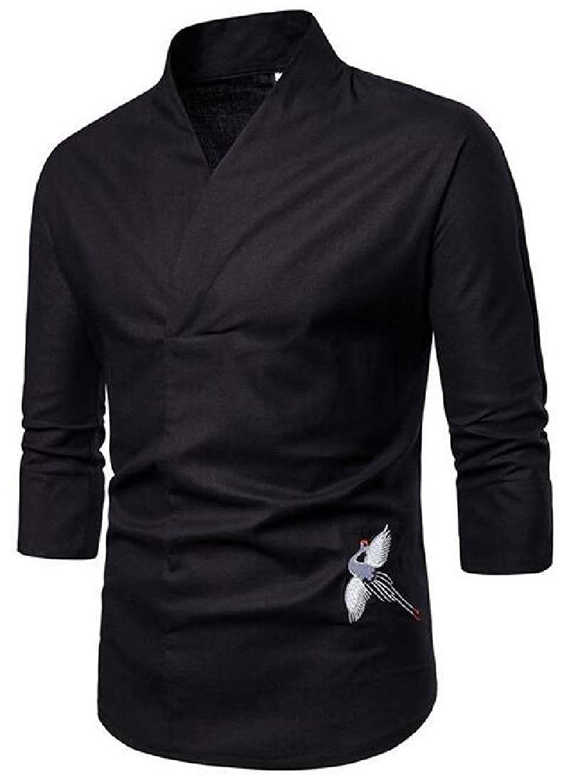 Zantt Men T-Shirts V Neck Embroidery 3//4 Sleeve Chinese Style Shirt Top