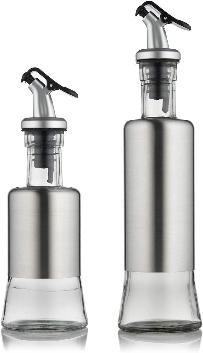 FARI Stainless Steel Olive Oil Dispenser Bottle Set, 10oz & 7oz Glass Cooking Oil & Vinegar Cruet Set for Kitchen and BBQ