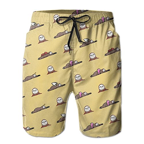 RZM YLY Men's Sloth Superman Swim Catoon Swim Trunks Quick-Dry Beach Shorts XX-Large ()
