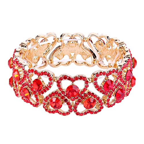 Austrian Crystal Stretch Bracelet (EVER FAITH Women's Austrian Crystal Sweet Love Heart Bridal Elastic Stretch Bracelet Red Gold-Tone)
