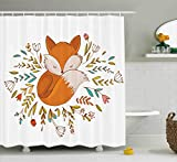Ambesonne Cartoon Shower Curtain, Cute Baby Fox Sleeping in a Floral Made Bed Circle Art Print, Fabric Bathroom Decor Set with Hooks, 70 Inches, Dark Orange White Teal Coral