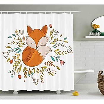 Amazon.com: Cartoon Shower Curtain by Ambesonne, Cute Baby Fox ...