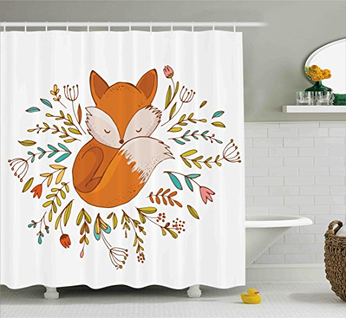 Ambesonne Cartoon Shower Curtain, Cute Baby Fox Sleeping in a Floral Made Bed Circle Art Print, Fabric Bathroom Decor Set with Hooks, 70 Inches, Dark Orange White Teal (Fox Shower Curtain Hooks)