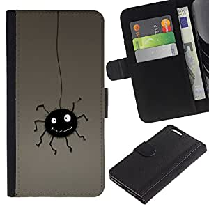 KingStore / Leather Etui en cuir / Apple Iphone 6 PLUS 5.5 / Ara?a Negro lindo colgante de la historieta del dibujo del arte
