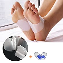LeWonde Plantar Fasciitis Arch Support Foot Massage Compression Brace (1 Pair) Heel Pain Silicone Gel Insoles (1 Pair) for Flat Feet Instant Foot Pain Relief (Large, White Brace)