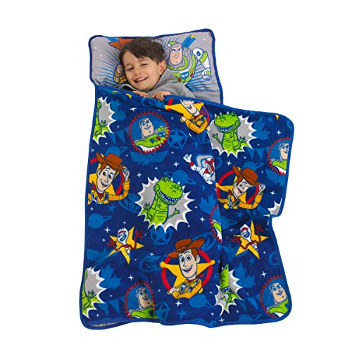 Kid In Toy Story (Disney Toy Story 4 - Toys in Action Toddler Nap Mat, Blue, Green, Yellow,)