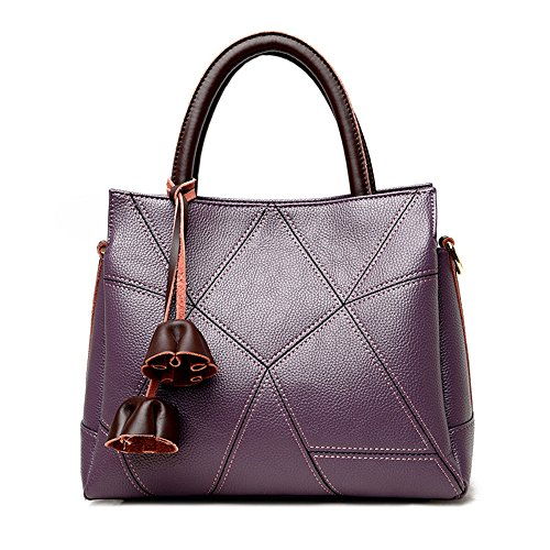 GWQGZ 2018 Señoras Moda Bolso Simple Cosido Aire Casual Satchel Bag Brown Violet