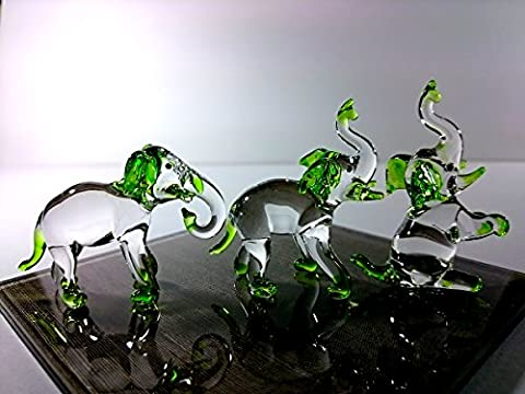 Sansukjai Set 3 Elephant Figurines Animals Hand Painted Green Hand Blown Glass Art Collectible Gift - Hand Painted Train Toy