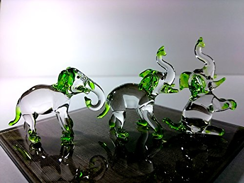 Sansukjai Set 3 Elephant Figurines Animals Hand Painted Green Hand Blown Glass Art Collectible Gift - Melbourne Glasses Central