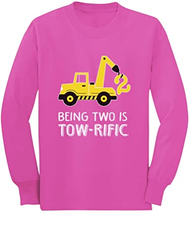 2nd Birthday Tractor Construction Party Toddler Kids Long Sleeve T Shirt 5 6