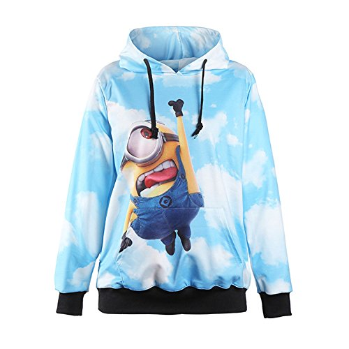(Sexy&Stylish Print Cute Cartoon Minions Hoodies Cloudy Blue Sky)
