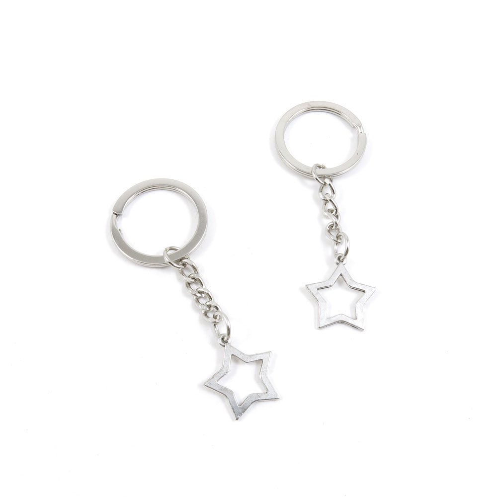 100 Pieces Keychain Door Car Key Chain Tags Keyring Ring Chain Keychain Supplies Antique Silver Tone Wholesale Bulk Lots T8DQ1 Five-pointed Star