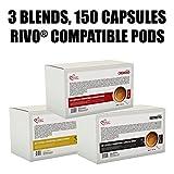 Italian Coffee capsules compatible with RIVO machines (Arabica/Cremoso/Ristretto, 150)
