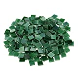 Jili Online 250 Pieces Colorful Square Vitreous Glass Mosaic Tiles Pieces for DIY Art and Crafts Supplies 10x10mm - Green