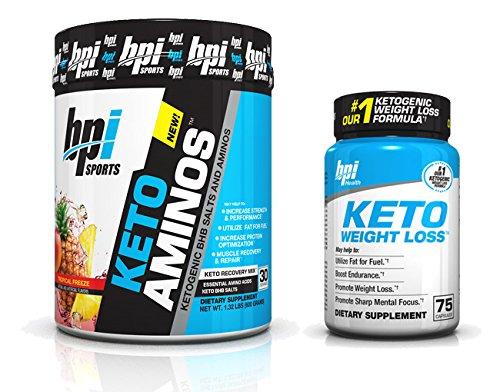 BPI Sports Keto Aminos Tropical Freeze (30 servings) and Keto Weight Loss (75 Count) Fat Burner Stack
