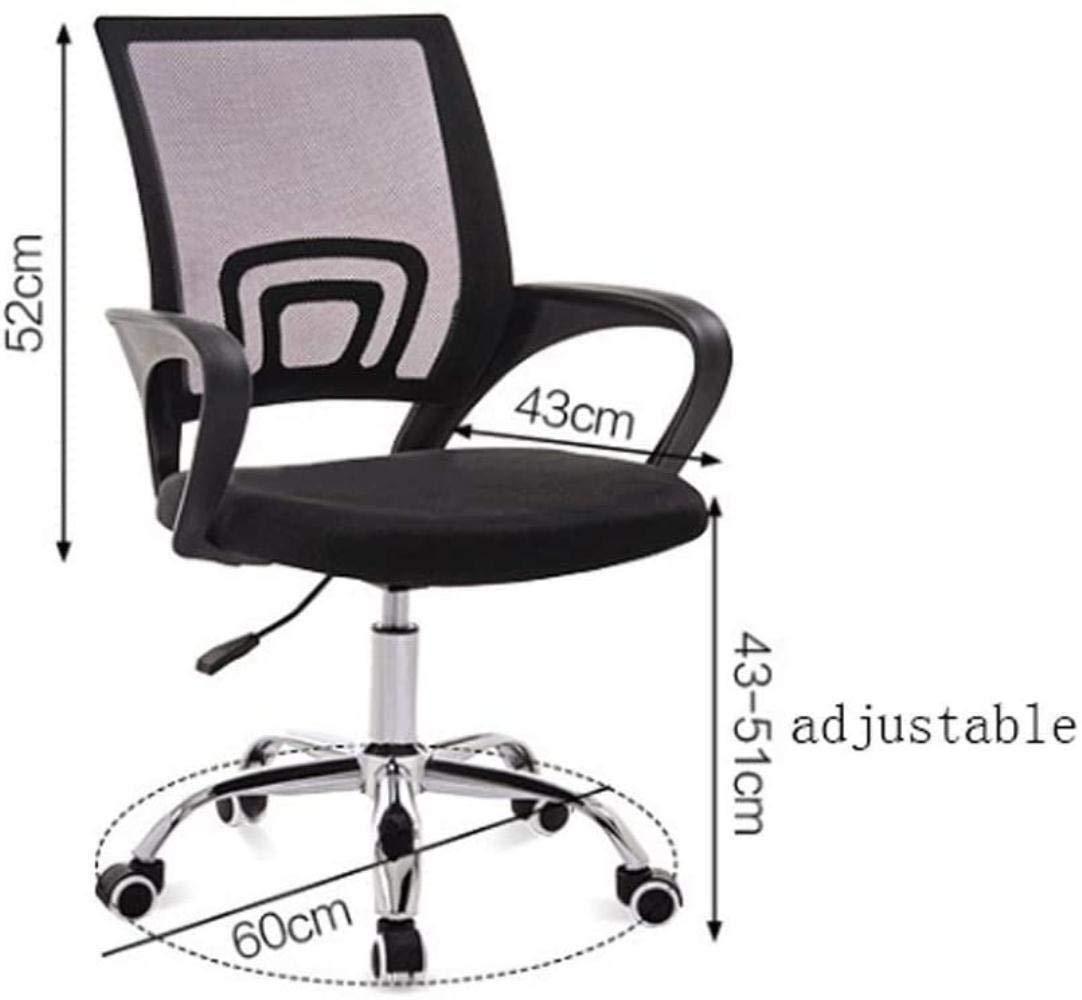 Skrivbordsstolar, kontorsstol ländrygg ergonomisk svängbar ländrygg stöd skrivbordsstol, datornät stol armstöd fåtölj (färg: Vit ram orange) Black Frame Black
