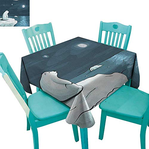 longbuyer Winter,Dinner Picnic Table Cloth,Cartoon Style Hand Drawn Polar Bear in The Arctic Staring at The Moon Image Print,54
