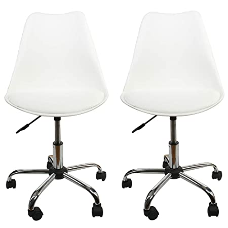 Office Chair White,Low-Back Support,PU Leather Surface,Computer Chair Comfort Height Adjustable, Chair Seat Without Arms in White,by U-Eway,2 PCS