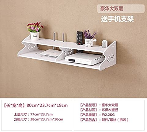 CLG-FLY Living room television set-top boxes wall-mounted storage shelves storage bedroom the router bracket block the free holes on the wall,Deluxe double