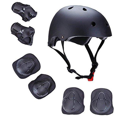 Sarik Kids Protective Gear Set, 7pcs Adjustable Toddler Helmet Elbow Knee Wrist Pads for Multi Sports Roller Bicycle BMX Bike Skateboard Hoverboard (Black)