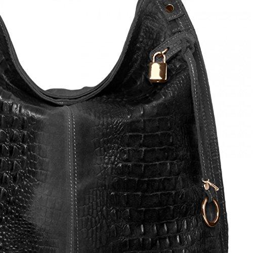 l'épaule CASPAR DAIM Noir TL678 Sac avec impression pour à plusieurs main en coloris porté crocrodile à femme Uw4qnzraUx