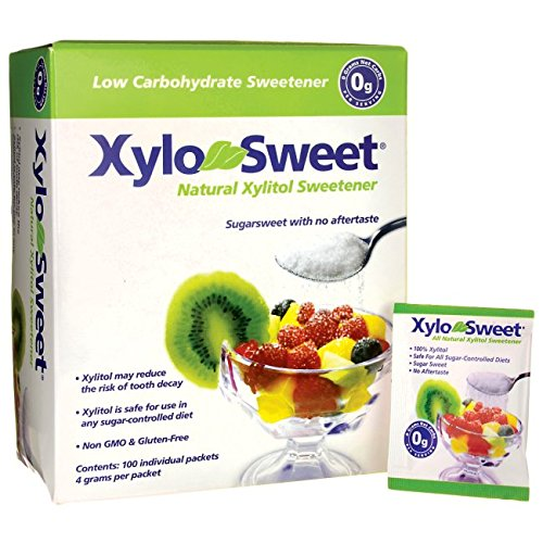 100 Individual Packets (Xlear XyloSweet Non-GMO Xylitol Natural Sweetener, Granules, 4 Gram Sachets, 100ct)