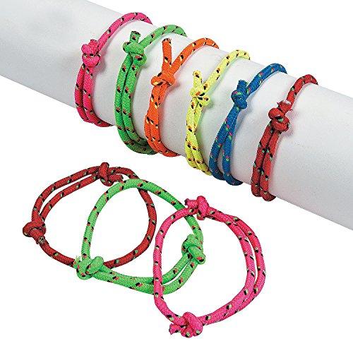 Neon Friendship Rope Bracelets - 12 pieces