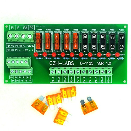 Electronics-Salon Panel Mount 10 Position Power Distribution Fuse Module Board, For AC/DC 5~32V . (Distribution 1)