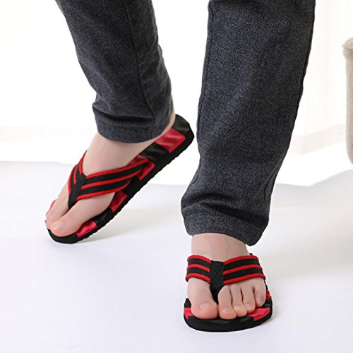 Hatop Heren Zomer Blok Kleur Sandalen Slipper Indoor Outdoor Flip-flops Strandschoenen Rood