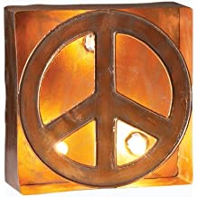 Roman Lights Lighted Yard Art, 164504, Metal Peace Sign figure, 10 inches tall