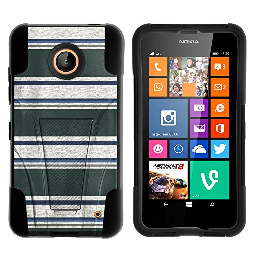 atible w/ Lumia 635, Lumia 630, Silicone Gel and PC Combination STRIKE Impact Stand Case w/ Dazzling Designs for Nokia Lumia 635, 630 (AT&T, Sprint, T Mobile, Cricket, Virgin Mobile, Boost Mobile, MetroPCS) Blue Green Stripes ()