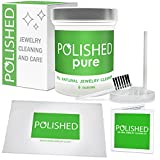 NEW Polished 100% All Natural Jewelry Cleaner Kit - Professional Clean in 2-Minutes! Diamond Ring Cleaner, Gold, Platinum | Safe on Skin, Made in USA, Jewelry Cleaning Solution + Polishing Cloth