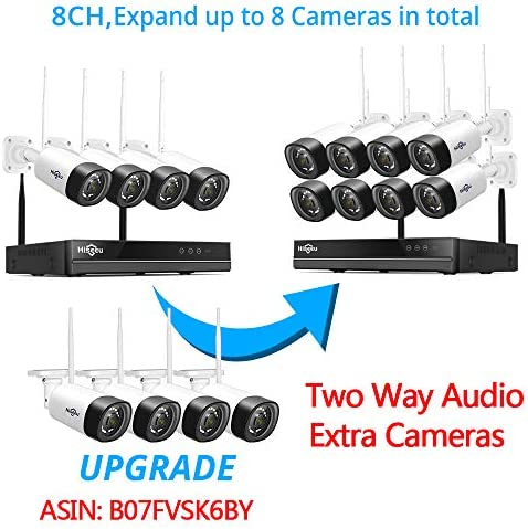 【Two Way Audio】Hiseeu Wireless Security Camera System,1TB Hard Drive,4Pcs 1080P Cameras 8Channel NVR,Mobile&PC Remote,Outdoor IP66 Waterproof,Night Vision,Motion Alert,Plug&Play,7/24/Motion Record 51zPFUkvFXL