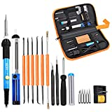 INLIFE 60W 110V Soldering Iron Kit with Adjustable Temperature Welding Iron, 6pcs Aid Tools, 5pcs Tips, 2pcsTweezers, Solder Sucker, Screwdriver, Solder Wire Tube and Stand in PU Carry Bag