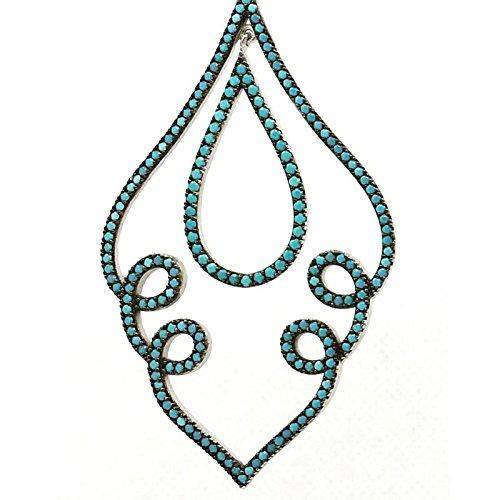Boucles D'Oreille Femme-Argent-Artisanale GUROR01 Turquoise