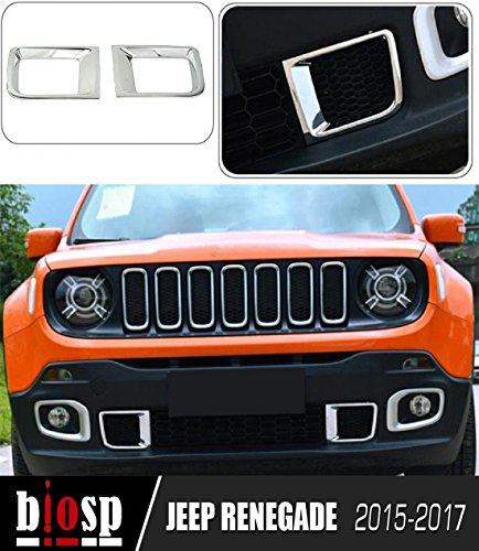 BIOSP 2015-2017 Jeep Renegade Front Air Vent Outlet Protective Cover Bumper Chorme Plated ABS,silver