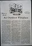 Outdoor Fireplace Plans 1933 Original Article How to Build an Outdoor Fireplace