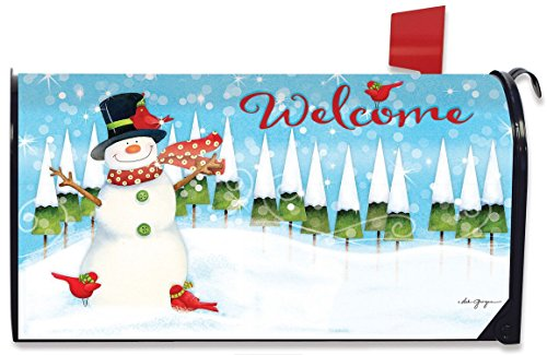 Winter Snowman Magnetic Mailbox Cover Seasonal Standard