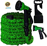 50 Ft. Garden Hose- Flexible Expanding Compact & Collapsible – Perfect for Outdoors or Your Yard – Powerful 8 Pattern Spray Nozzle & Convenient Garden Hose Hanger Included - Green