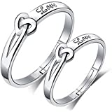 Accessorisingg Collection of 925 Silver Plated Adjustable Size Couple Love Rings Set [16 Varients]