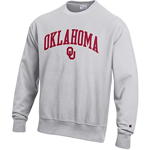 Elite Fan Shop Oklahoma Sooners Reverse Weave Crewneck Sweatshirt Gray - - Oklahoma Crew Sweatshirt