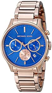 Michael Kors Chronograph Blue Dial Rose Gold-tone Mens Watch MK5911
