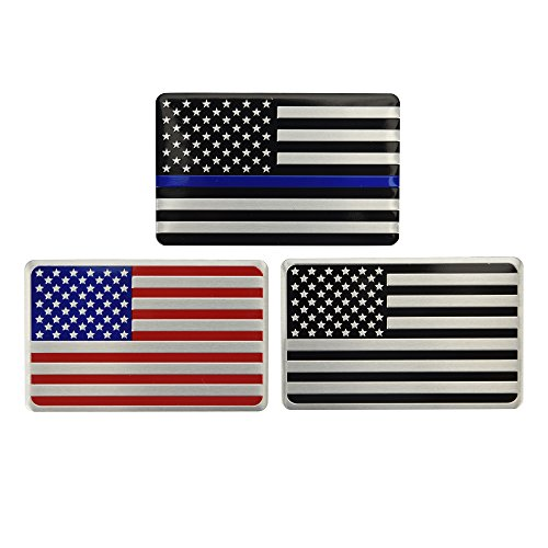 Cococart US American Flag Chrome Metal Decal Sticker Blue Line Decal Bonus Subdued Flag Military Army, Vehicle, Truck, car, Motorcycle, RV, Scooter SUV(Blue Line)