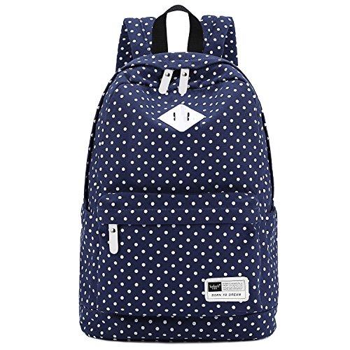"S-ZONE Lightweight Polka Dot Canvas Backpack 13""-15"" Laptop PC School Bag for Teenage Girls (A-Dark Blue)"