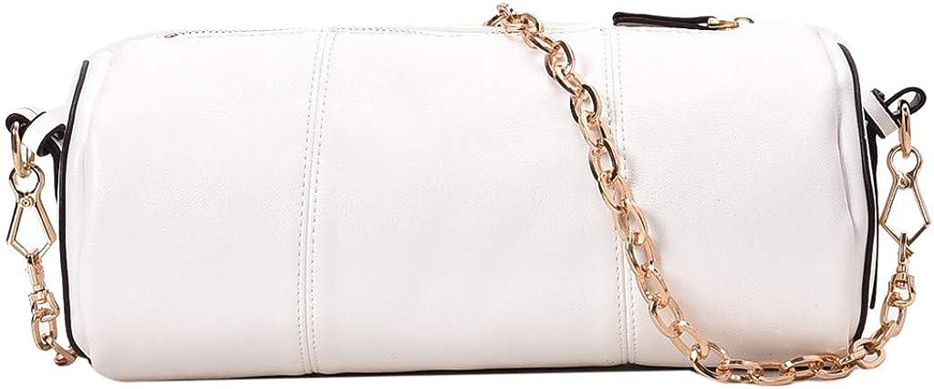 Kingwo Womens Fashion Zipper Chain Bag Casual Bag Shoulder Retro Round Pillow Bag