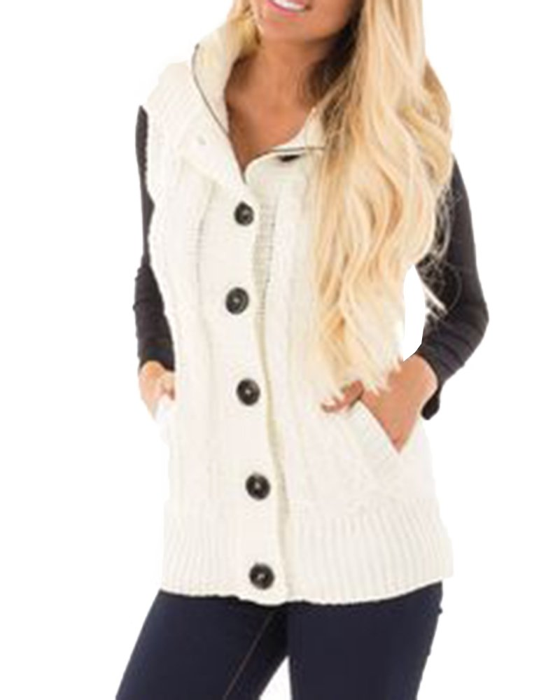 FISACE Women Hooded Button Sweater Vest Knit Cardigan Outerwear Coat Pocket