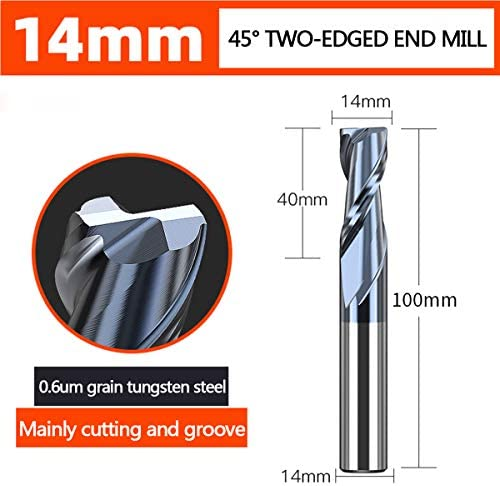 LOKIH End Mill Carbide Square Nose End Mill, Tian Coating, 35 Deg Helix, 2 Flutes,Universal Round Handle Full Length:100Mm,diameter:14mm