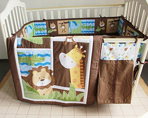 NAUGHTYBOSS Unisex Baby Bedding Set Cotton Primeval Forest Monkey Crocodile Animals Pattern Quilt Bumper Bedskirt Fitted Diaper Bag 8 Pieces Set by NAUGHTYBOSS