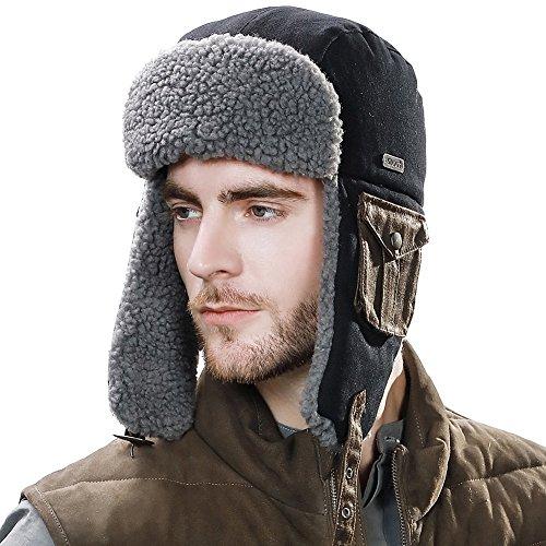 SIGGI Mens Trapper Hat Aviator Earflap Hat Faux Fur Winter Hat Pilot Soviet Russian Ushanka Hats Cotton Black L XL
