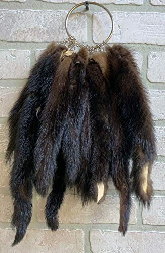 "Brown Mink Tail 8+"" Grommeted Key Chain Real Taxidermy"